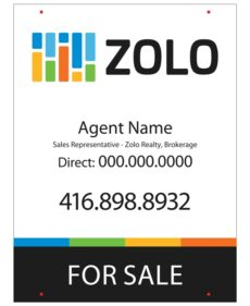 zolo real estate for sale sign